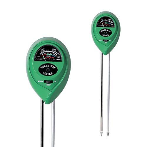 PH Messgerät,LANMU Bodentester,LANMU 3-in-1 Bodenmessgerät Feuchtigkeit PH Wert Lichtstärke Meter Tester für Gartenbau/Pflanzen/Rasen/Gras (keine Batterie erforderlich)