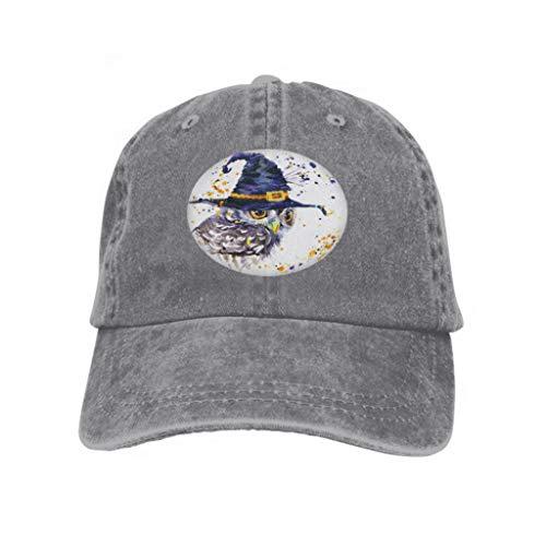 Xunulyn Unisex Mesh Hat Adult Baseball Caps Sunshade Hat Snapback Cap Halloween owl Witch hat Watercolor Background Holiday textur Gray (Die Halloween-filme Besten Der 80er Jahre)