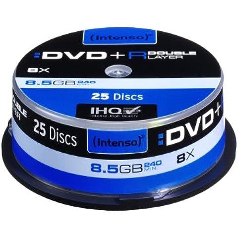 Intenso DVD+R 8.5GB 8x Double Layer 25er Cakebox - DVD+RW vírgenes (8,5 GB, DVD+R, 240 min, Caja para pastel,
