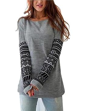 OverDose Mujeres Camiseta de Manga Larga Blusa Ocasional del Algodón Flojo Tops Camiseta de La Señora