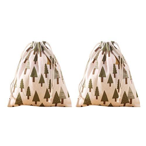 BESTOYARD Weihnachten Sackleinen Kordelzug Beutel Gefälligkeiten Süßigkeiten Geschenk Schmuck Aufbewahrungsbeutel für Weihnachtsfeier Gefälligkeiten 2 Stücke