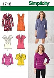 Simplicity S7635.P5 Patron de Couture Jeune Femme : Mini-Robe, Tunique et Haut en Jersey avec choix de devants