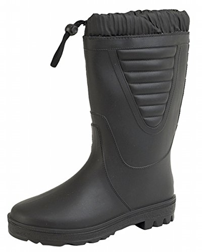 Black Polar Fishing Wellies Boots Warm Fleece Fur Lining