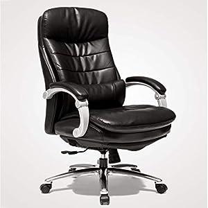 Computer Bürostuhl PU Leder Ergonomischer Schwenk Computer Schreibtisch Stuhl Einstellbar Neigung & Amp; Sperrfunktion High Back Recliner, braun (Color : Black)