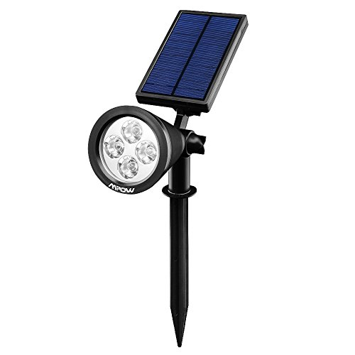 Mpow Faretto Solare Ricaricabile, Luce di Sicurezza di Sistema Solare Giardino Decor con 4 LED di Colore, 200 Lumen, IP65 Impermeabile