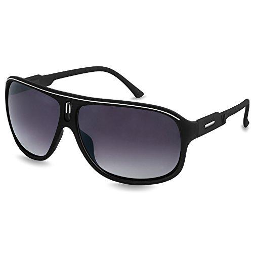 Caspar SG016 Unisex Design Sonnenbrille, Farbe:schwarz/schwarz getönt