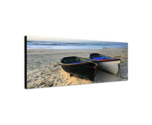 Quadro su tela come panorama in 150x 50cm mare spiaggia di sabbia barche da pesca