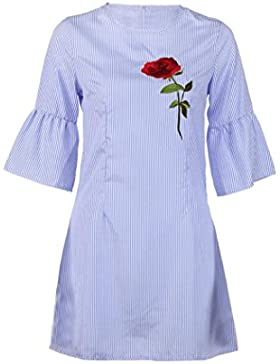 Sommer Amlaiworld Rose Stickerei kleider damen mode Streifen Kleid Niedlich Blume elegant kleidung für party