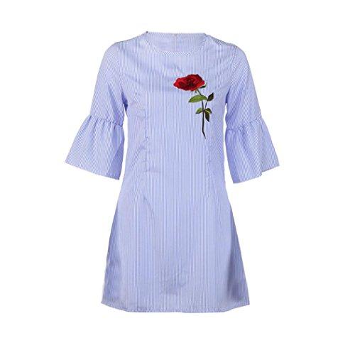 Sommer Amlaiworld Rose Stickerei kleider damen mode Streifen Kleid Niedlich Blume elegant kleidung für party (S, (90 Themen S Kostüm)