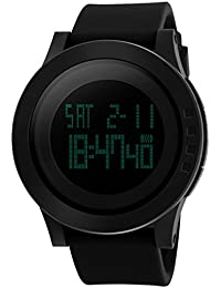 Digital Watch For Men, Vazeedo Sports Wristwatch With Time Date Backlight Display And Silicone Adjustable Band, Waterproof And Scratch Resistant, Alarm And Dual Time Mode, Stylish Design Men Watches
