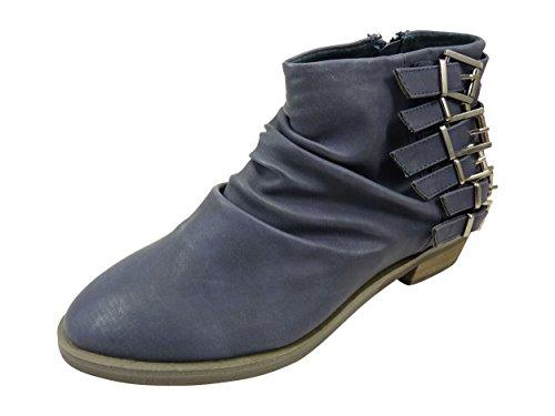 Bottines femme plissées à boucles et zip côté, Low boots à petit talon Bleu