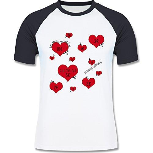 JGA Junggesellenabschied - Herzen ausschneiden JGA - zweifarbiges Baseballshirt für Männer Weiß/Navy Blau