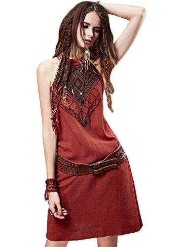 MatchLife Femme Slim Fit Col Haut Sans Manche Embroidery Robe S/M Orange Rouge