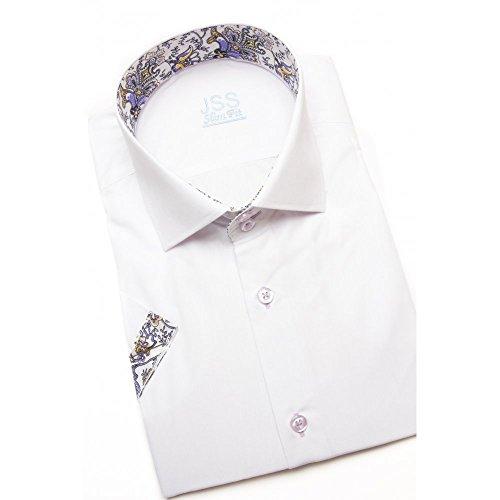 Italienisches Hawiian Herren Hemd Slim Fit Shirt kurzärmlig mit Kontrast-Kragen, In den Größen Gr. S-4XL Weiß - White Lilac Paisley