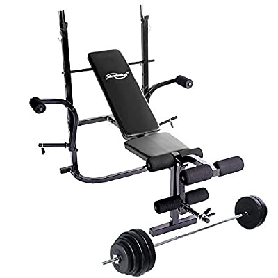 Physionics Weight Bench Set with Barbell and 60 kg Weight Plates from Physionics