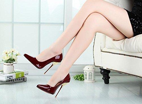 HeiSiMei Frauen high-heeled Schuhe / PU / Stilett-Ferse-Fersen / Büro u. Karriere / Partei u. Abend / Hochzeit / Kleid / Superhoher Absatz / Männer / Unisex REDWINE-45