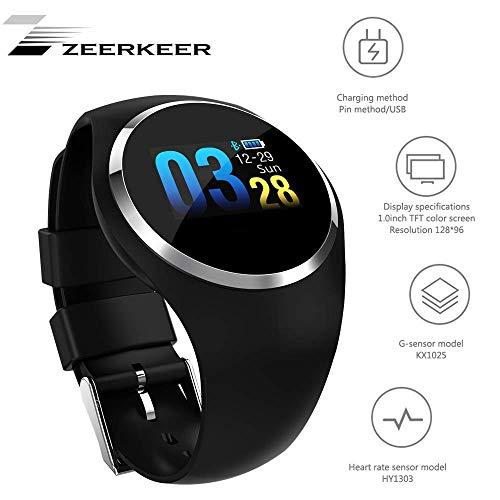 Zeerkeer Smartwatch,orologio da polso frequenza cardiaca/pressione anguigna/monitoraggio dell'ossigeno nel sangue Impermeabile IP67 Facebook/Twitter/Whatsapp Inseguitori di fitness (nero)
