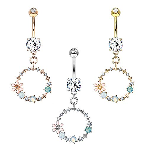h-nabelpiercing Blumen-Ring Anhänger Synth Opal Zirkonia 316L Chirurgenstahl Bauch-Piercing Bananabell Nabel-Piercing Set ()