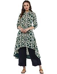 Janasya Women's Cotton High Low Hemline Floral Print Kurta