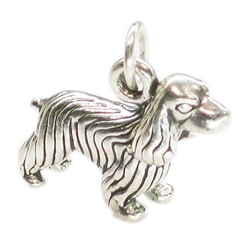 Cocker Spaniel Dog sterling silver charm .925 x 1 Cockers Spaniels dogs SSLP3521