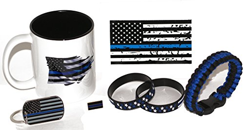 11. oz American Flagge/Police dünn blau Line Kaffee Tasse und Sterne und Streifen Geschenk Pack (Kaffee-geschenk-pack)
