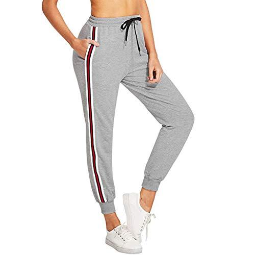 NEEKY Damen Hosen Sporthose Casual Streifen Sweathose Elastischer Bund Jogginghose mit Taschen Damen Leggings für