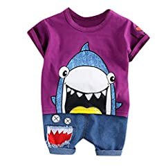 Idea Regalo - Daoope Vestiti per Bambine Elegante Estivi 3 4 Anni 12 18 24 Mesi Abbigliamento Neonato Estate Toddler Bambino Bambini Ragazzi Cartoon Shark Tops Pantaloni Corti Casual Outfit Set