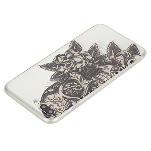 """Coque iPhone 6/6S 4.7"""" case Feeltech [Cristal Clair] Flexible Ultra Mince Gel TPU Bumper Couverture en Silicone avec Motif de Conception de Bande Dessinée Mignonne Colorée [Amortisseur Résistant aux R Crâne Rose"""