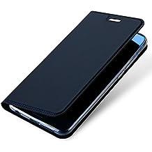 Huawei Honor 9 Custodia in Pelle, Moonmini Lusso Ultra Sottile Misura Custodia Wallet a Portafoglio a Libro in PU Pelle con Stand Funzione e Carta Fessura Chiusura Magnetica Flip Cover Supporto per Huawei Honor 9 Blu navy