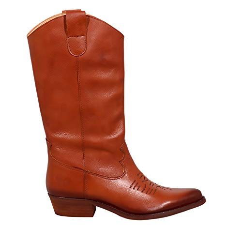 Felmini - Zapatos para Mujer - Enamorarse com Gerbera 7962 - Botas Cowboy & Biker - Cuero Genuino - Marrón - 37 EU Size