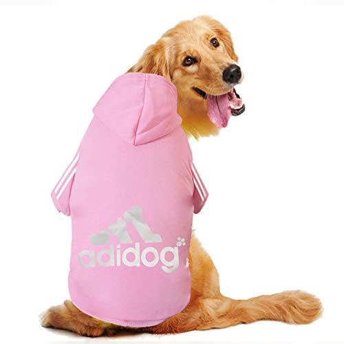 DULEE Große Hundebekleidung Fleece Warme Pullover Mit Kapuze Mantel Haustier T-Shirts für Große Golden Retriever/Husky/Shepherd Dog/Labrador, etc,Rosa 7XL - Fleece Großen T-shirt