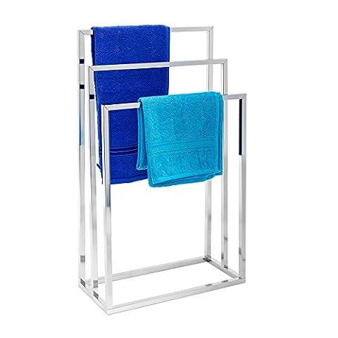 Relaxdays Porte-serviettes sur pied avec base antidérapante 3 bras chromés en 3 hauteurs inox 82,5 x 46 x 21 cm support vêtement, gris argenté