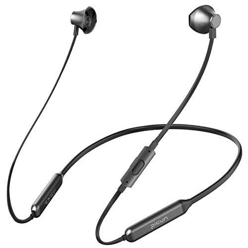 Bluetooth Kopfhörer, Picun 10 Stunden Spielzeit CSR Nackenbügel Sport Ohrhörer mit Mikrofon, IPX6 Wasserdicht HiFi Stereo Bass Headsets, für Laufen Fitness Training Joggen Yoga(Schwarz)