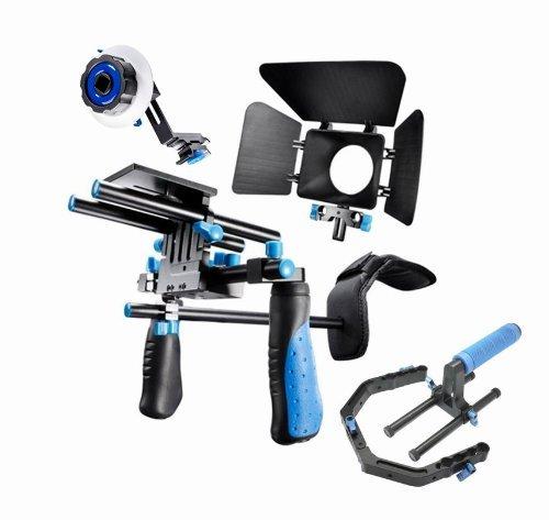 SunSmart Pro DSLR Rig Kit Schulterstativ + Follow Focus + Matte Box + Pro C-Tragarm + Gegengewicht für alle DSLR-Kameras und Video-Camcorder