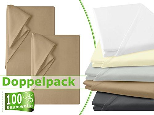 Doppelpack - Laken - 100{943a1d560f94ddf17b08366dbe8e62ff8572968b15430a62d16995723e76b5a3} Baumwolle - Haushaltstücher ohne Spanngummi - in 5 natürlichen Farbtönen - in 3 verschiedenen Größen, ca. 150 x 250 cm, sand