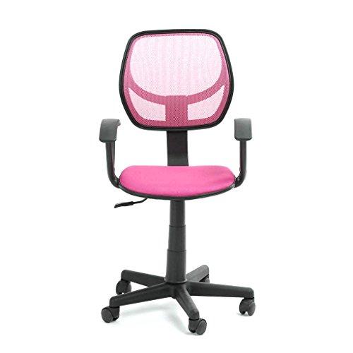 GreenForest Chaise de bureau ergonomique avec mécanisme d'inclinaison, accoudoirs rétractables rose