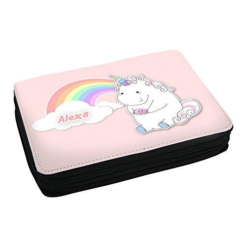 Preisvergleich Produktbild Schul-Mäppchen mit Namen Alexa und schönem Motiv - Einhorn mit Donut und Regenborgen - für Mädchen | Federmappe mit Vornamen - inkl. Stifte, Lineal, Radierer, Spitzer