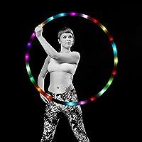 LED Hula Hoop Dance & Fitness Glow Luz Ponderada Aros de Fitness para Adultos y Niños, Luz LED Cambiante de Luz Estroboscópica, Diseño Desmontable de 8 Secciones