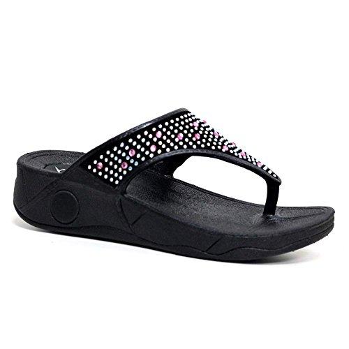 Dunlop Tongs pour Femme Noir/Multicolore 40 EU
