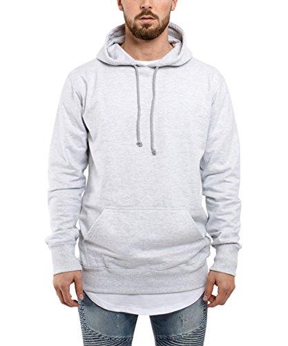 Phoenix Raw Hem Zip Hoodie Herren Langer Pullover Oversized Kapuzenpullover Sweater Grau Anthrazit Grün Hoodie - Grau