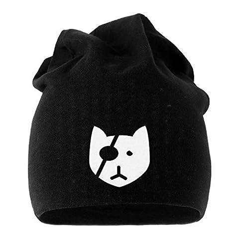Jersey Beanie Bad Cat Katze Mütze bedruckt Herren Damen Moonworks® schwarz unisize