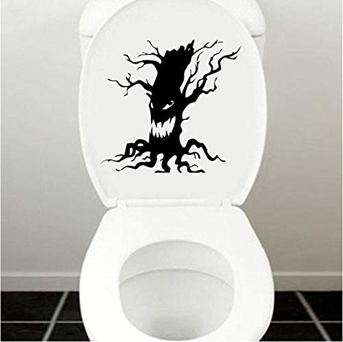 Toilettenaufkleber stickers 1 Beutel / 2 Sätze) Spooky Tree Vinyl Wandaufkleber Halloween Scary Tree Face Toilettenaufkleber Wohnkultur 18X17CM