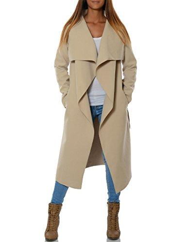 Damen Langer Mantel Cardigan mit Taillengürtel No 15705 Beige 40 / L