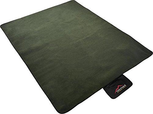 Outdoor Campingdecke aus Fleece mit wasserdichtem Bodenmaterial inkl. Tragetasche Farbe Oliv