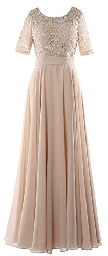 MACloth Elegant Half Sleeve Long Mother of Bride Dress Lace Formal Evening Gown Champagne