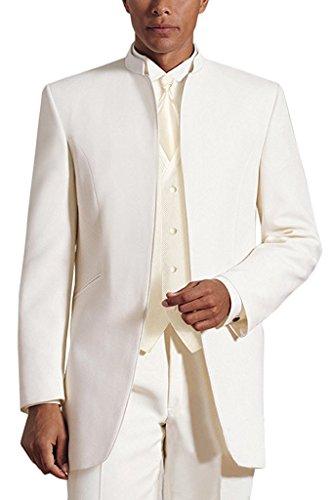 Lilis® Herren 3 Stücke Hochzeit Anzüge Reines Weißes Kragen Dreiteilige Smoking Anzüge - 3 Stück Drei Stück Anzug