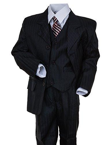 Festlicher 5tlg. Jungen Anzug Festanzug mit Jacke, Hose, Hemd, Weste und Krawatte in vielen Farben M312bl Blau Gr. 4 / 98 / 104