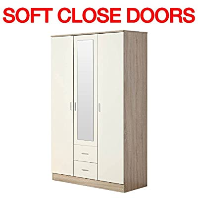 Gladini XL Mirrored High Gloss 3 Door Wardrobe with 2 Drawers - SOFT CLOSE - Hanging Rail - cheap UK light store.