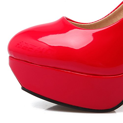 AllhqFashion Damen Lackleder Ziehen Auf Rund Zehe Stiletto Rein Pumps Schuhe Rot