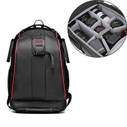 TOP-MAX® Portable Camera Bag Backpack Organizer for Digital SLR DSLR Canon Nikon Sony Camera Messenger Shoulder Bag Caden K7 Cool Black